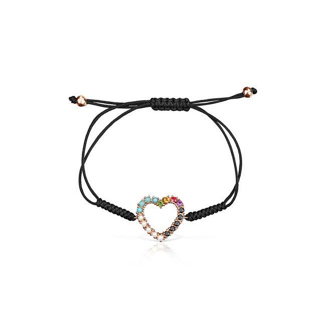 tous-pulsera-corazon-de-plata-vermeil-rosa-gemas-y-cordon-negro-915301510-1